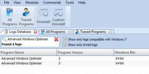 Find Advanced Windows Optimizer in Logs Database List