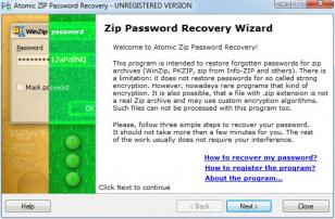 Atomic ZIP Password Recovery main screen