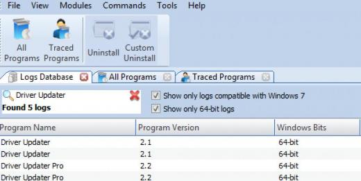 Find DriverUpdater in Logs Database List