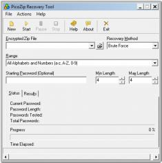 PicoZip Recovery Tool main screen