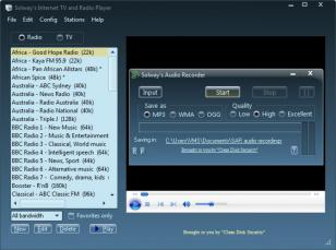 Solway's Internet TV and Radio main screen