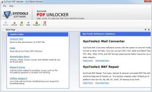 SysTools PDF Unlocker main screen