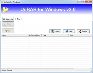 UnRAR main screen