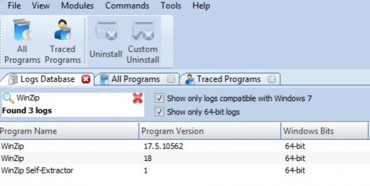 Find WinZip 18 in Logs Database List