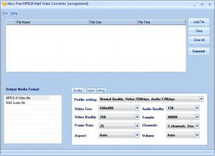 Abcc Free MPEG4 Mp4 Video Converter main screen