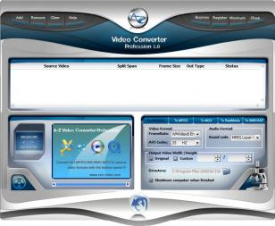 A-Z Video Converter Profession main screen