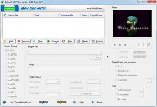 Boilsoft MOV Converter main screen