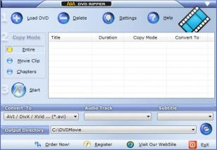 AoA DVD Ripper main screen