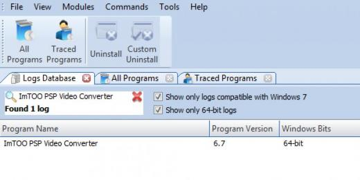 Find ImTOO PSP Video Converter in Logs Database List