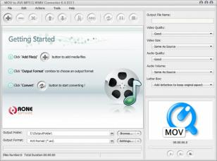 MOV to AVI MPEG WMV Converter main screen