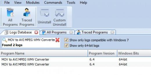 Find MOV to AVI MPEG WMV Converter in Logs Database List