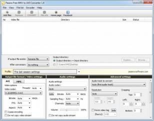 Pazera Free MKV to AVI Converter main screen