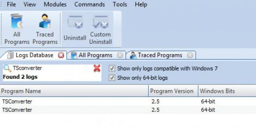 Find TSconverter in Logs Database List