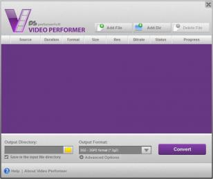 Video Performer main screen