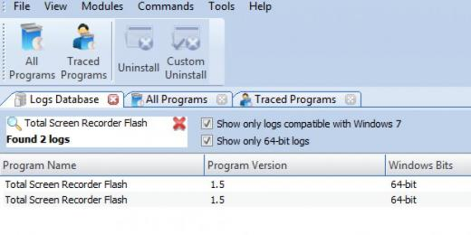 Find Total Screen Recorder Flash in Logs Database List