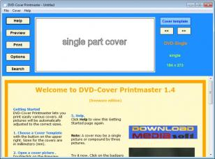 DVD Cover Printmaster main screen