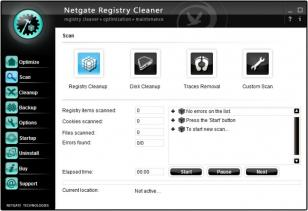 NETGATE Registry Cleaner main screen