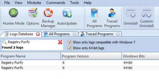 Find Registry Purify in Logs Database List