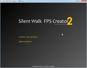 Silent Walk FPS Creator main screen