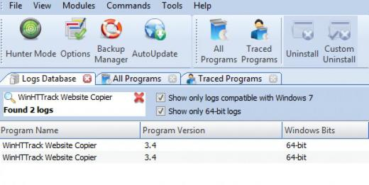 Find WinHTTrack Website Copier in Logs Database List