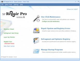 XP Repair Pro main screen