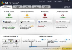 AVG PC Tuneup 2013 main screen