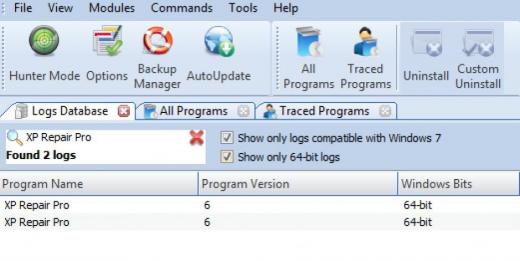 Find XP Repair Pro in Logs Database List