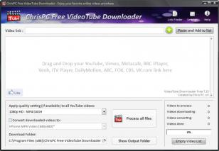 ChrisPC Free VideoTube Downloader main screen