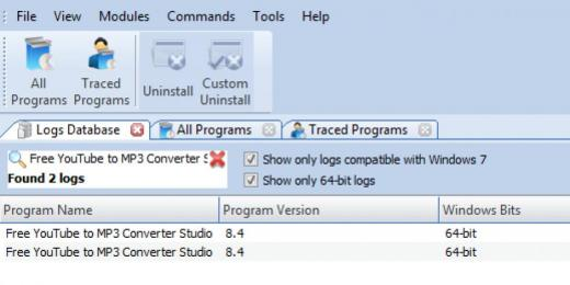 Find Free YouTube to MP3 Converter Studio in Logs Database List