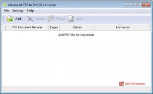 Advanced PDF to IMAGE converter main screen
