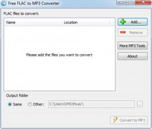 Free FLAC to MP3 Converter main screen
