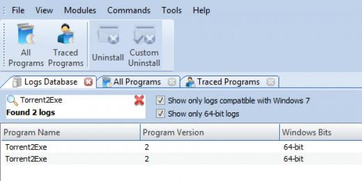 Find Torrent2Exe in Logs Database List