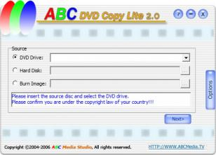 ABC DVD Copy Lite main screen