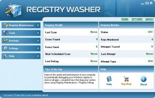 Registry Washer main screen