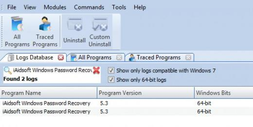 Find iAidsoft Windows Password Recovery in Logs Database List