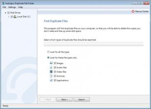 Duplicate File Finder main screen