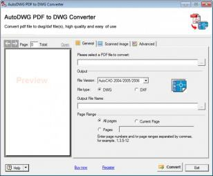 PDF to DWG Converter main screen