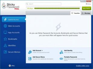 Sticky Password Pro main screen