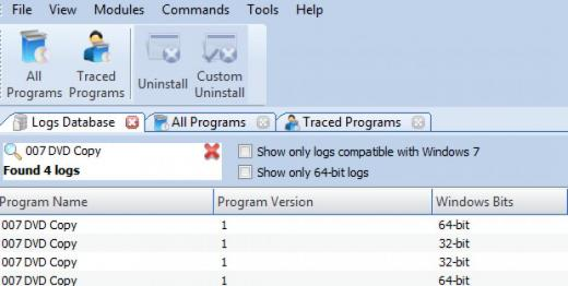 Find 007 DVD Copy in Logs Database List