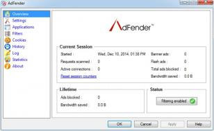 AdFender main screen
