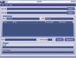 Ape2CD main screen