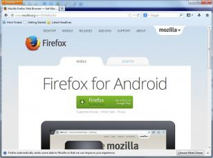 Mozilla Firefox main screen