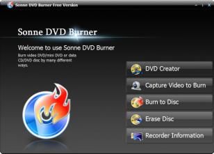 Sonne DVD Burner main screen