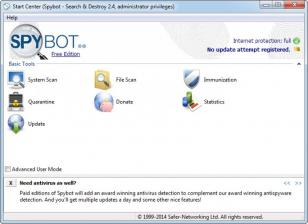 Spybot - Search & Destroy main screen