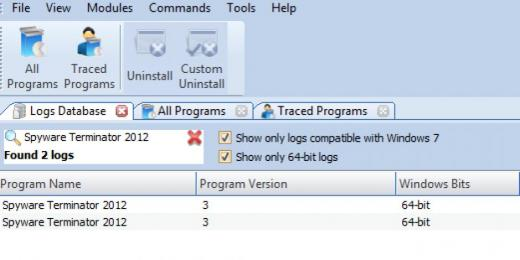 Find Spyware Terminator 2012 in Logs Database List