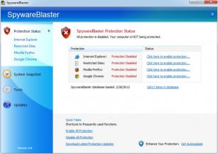 SpywareBlaster main screen