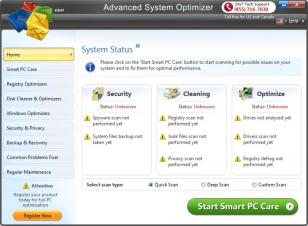Advanced System Optimizer main screen