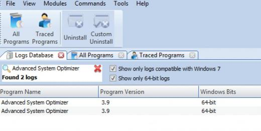 Find Advanced System Optimizer in Logs Database List