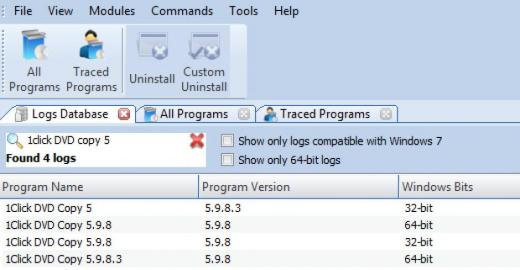 Find 1Click DVD Copy in Logs Database List