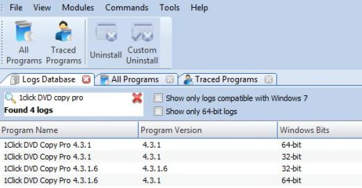 Find 1Click DVD Copy Pro in Logs Database List
